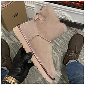 Женские зимние Ugg Mini Bailey Bow ll Pink зимние угги класик мини зимові уггі жіночі зимові Ugg Mini II Pink