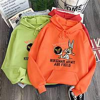 Модные толстовки для девушек худи с капюшоном теплая Bugs Bunny
