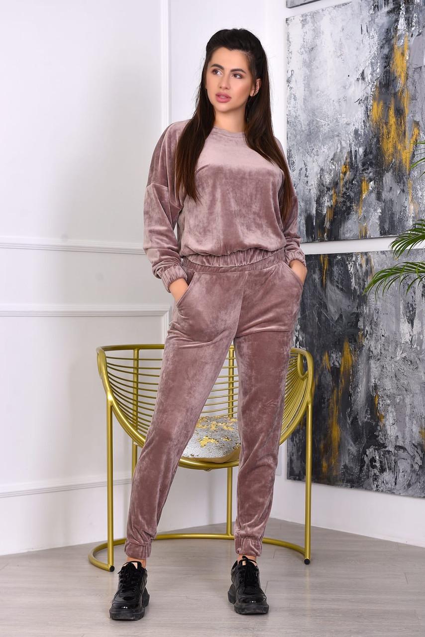 Женский молодежный плюшевый прогулочный и домашний костюм: укороченная кофта и зауженные штаны