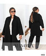Женское Мягкое пальто-кардиган батал без застёжек, с поясом. По бокам - накладные карманы. Подол