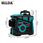 Лазерный уровень Hilda 3D 12 линий + ТРЕНОГА ☀ БИРЮЗОВЫЙ ЛУЧ ☀, фото 5
