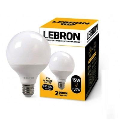 LED лампа Lebron G95 15w E27 4100K