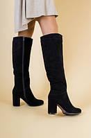 Сапоги зимние черные замшевые с обтянутым каблуком, 36