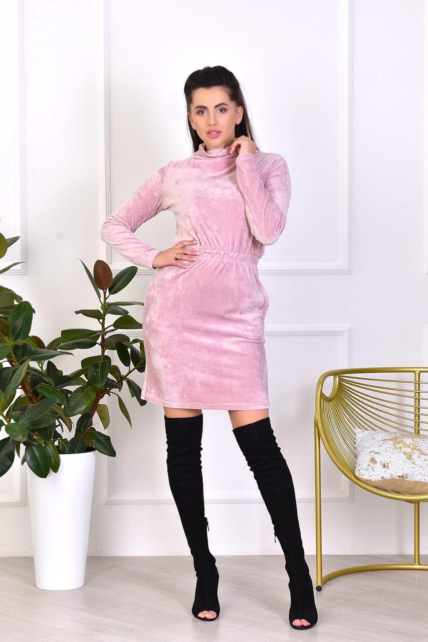 Теплое мягкое плюшевое платье с резинкой по талии и высоким воротом