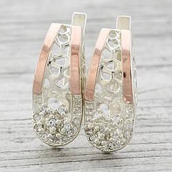 Серебряные серьги с золотыми пластинами Чудо размер 24х10 мм вставка белые фианиты вес 7.8 г