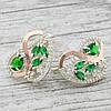 Серебряные серьги Сакура размер 22х20 мм вставка зеленые и белые фианиты вес 8.64 г, фото 2