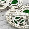 Серебряные серьги Сакура размер 22х20 мм вставка зеленые и белые фианиты вес 8.64 г, фото 4