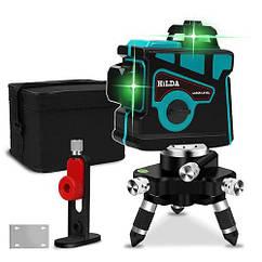 Лазерный уровень Hilda 3D 12 линий + МАГНИТНЫЙ КРОНШТЕЙН + мини ТРЕНОГА ☀ БИРЮЗОВЫЙ ЛУЧ ☀