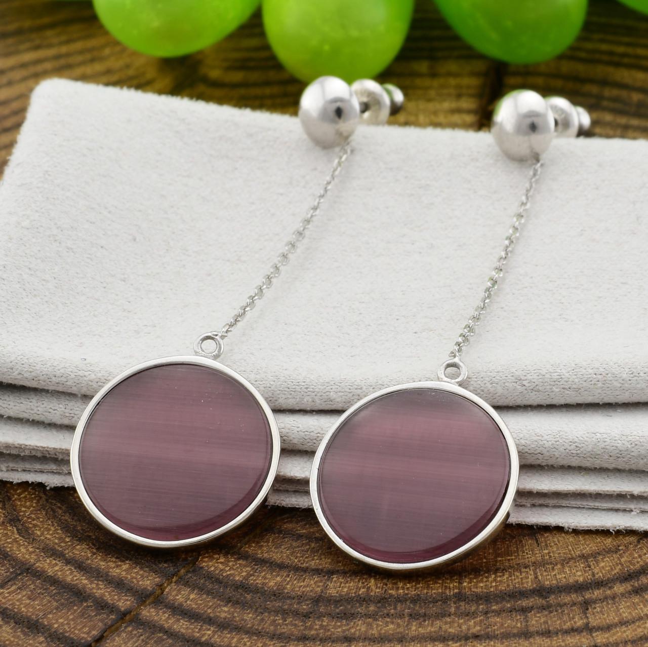 Серебряные серьги подвески размер 54х15 мм вставка улексит фиолетовый вес 3.1 г