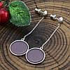Серебряные серьги подвески размер 54х15 мм вставка улексит фиолетовый вес 3.1 г, фото 3