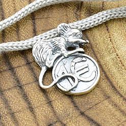 Серебряный сувенир Кошельковая мышь размер 17х15 мм вес 1.47 г