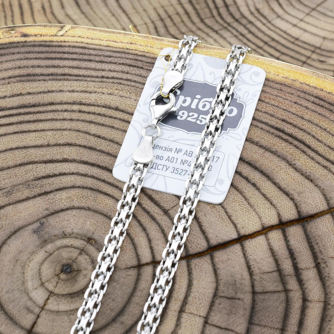 Серебряная цепочка родированная Бисмарк классический длина 45 см ширина 4 мм вес 11.3 г