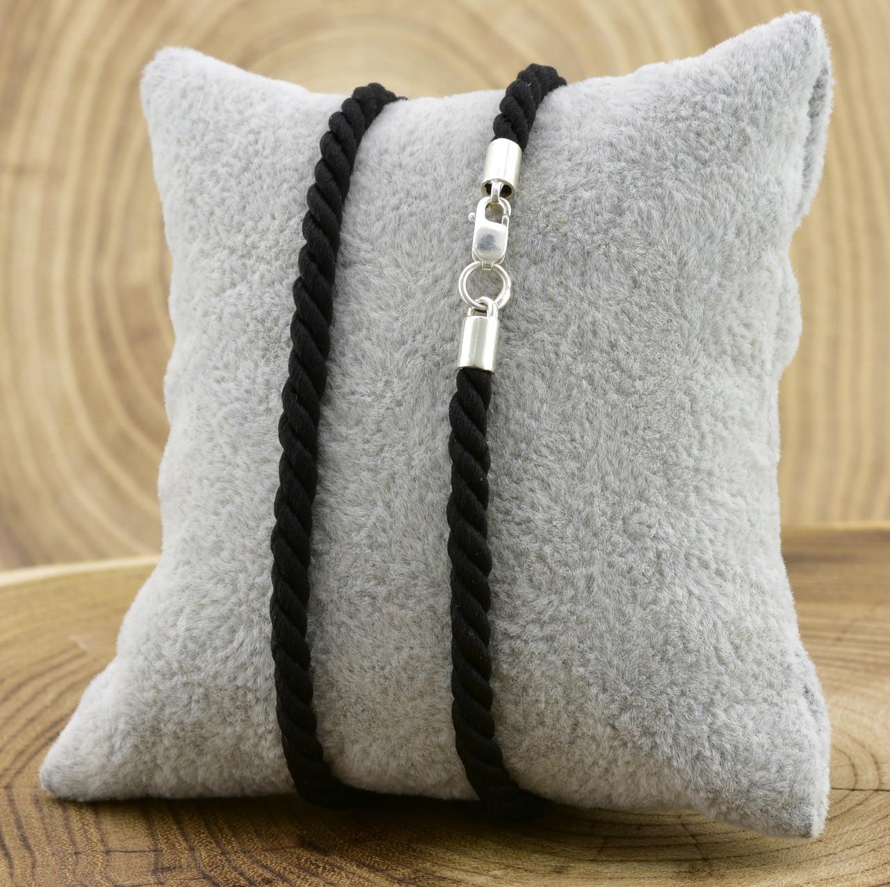 Шнурок плетённый шелковый цвет чёрный длина 40 см ширина 3 мм вес серебра 0.8 г
