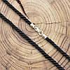 Шнурок плетённый шелковый цвет чёрный длина 50 см ширина 3 мм вес серебра 0.8 г, фото 2