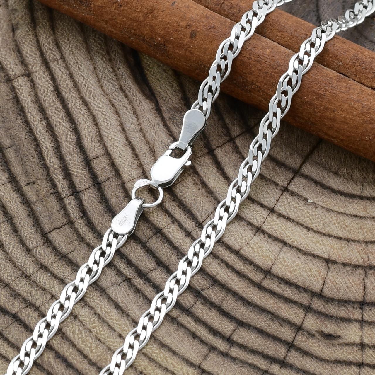 Серебряная цепочка родированная Нонна длина 45 см ширина 3 мм вес 5.2 г
