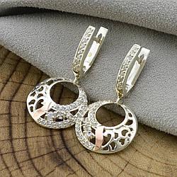 Серебряные серьги с золотом Лайма размер 25х18 мм вставка белые фианиты вес 6.0 г