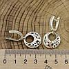 Серебряные серьги с золотом Лайма размер 25х18 мм вставка белые фианиты вес 6.0 г, фото 2