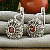 Серебряные серьги Фария размер 17х13 мм вставка красные фианиты вес 5.64 г, фото 2