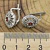 Серебряные серьги Фария размер 17х13 мм вставка красные фианиты вес 5.64 г, фото 3