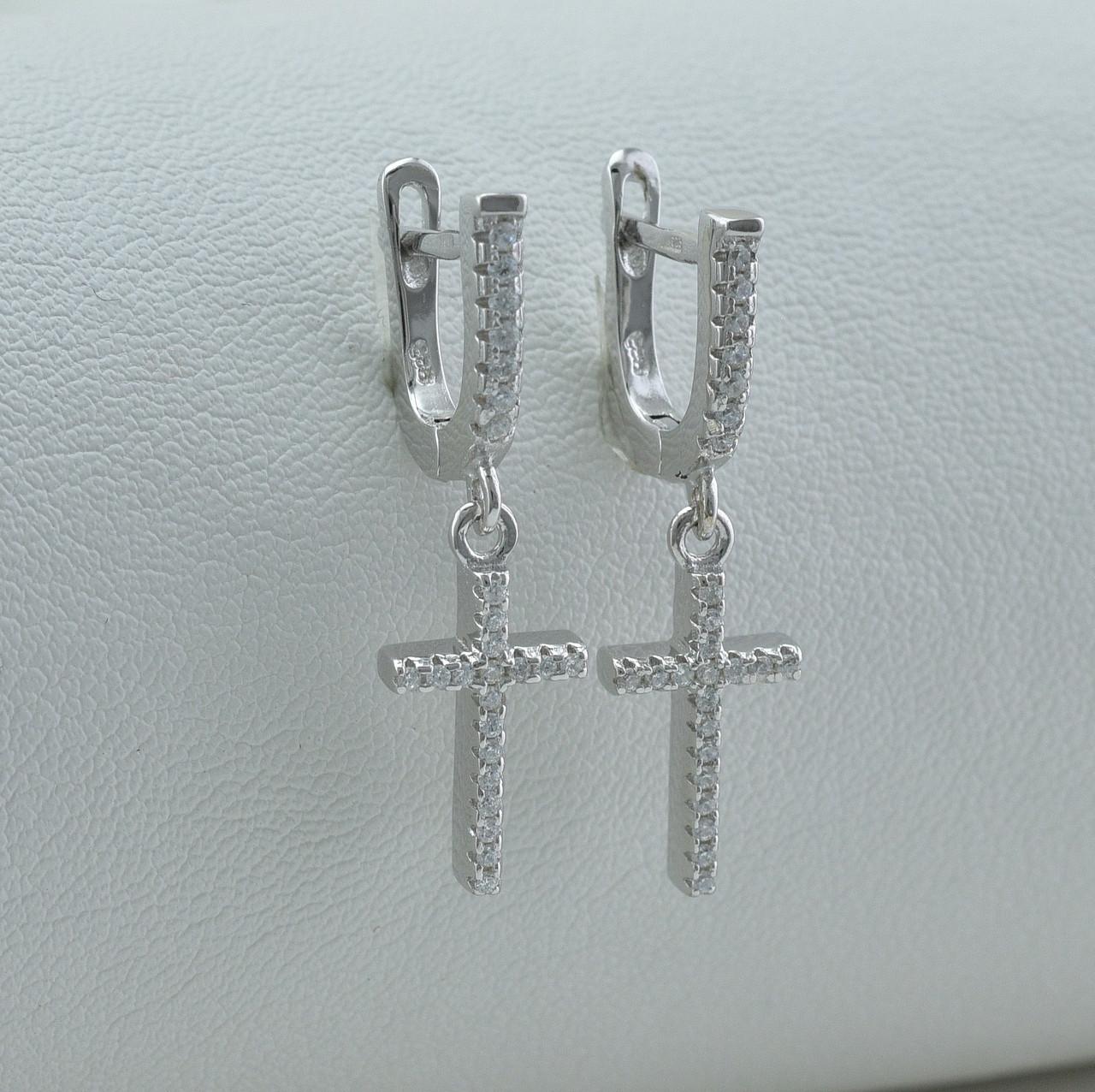 Серебряные серьги подвески  размер 27х8 мм вставка белые фианиты вес 3.8 г