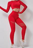 Спортивный бесшовный костюм тройка для фитнеса со вставками из стрейч-сетки (лосины, топ, рашгард), красный