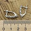 Серебряные серьги Азазель размер 18х5 мм вставка синие фианиты вес 2.95 г, фото 3