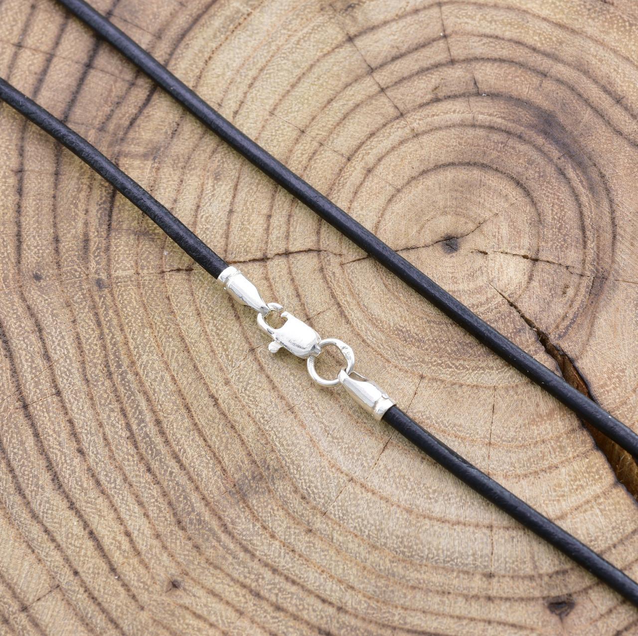 Шнурок кожаный цвет черный длина 50 см ширина 2 мм вес серебра 0.7 г