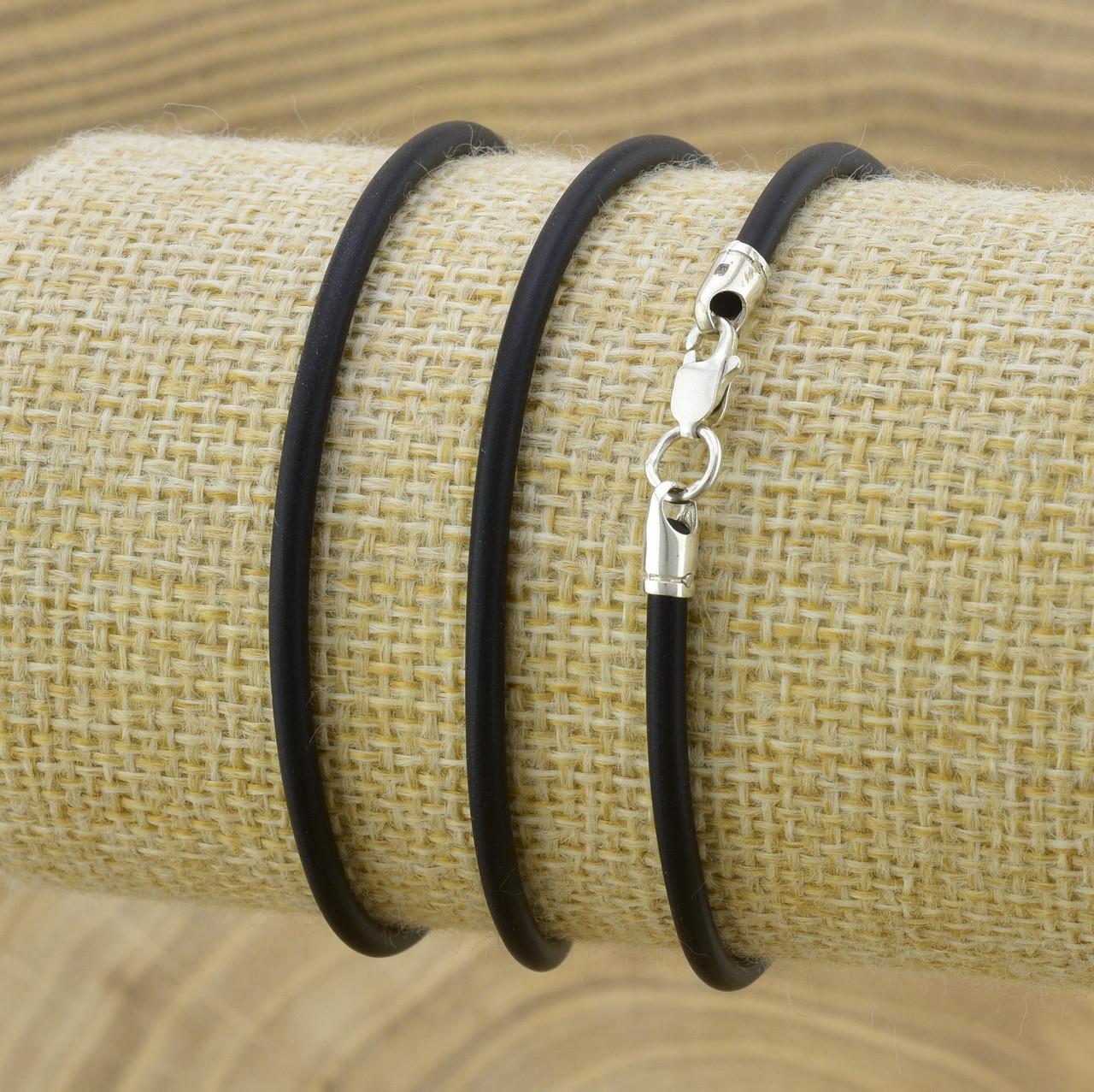 Шнурок каучуковый цвет черный длина 45 см ширина 2.5 мм вес серебра 0.8 г