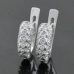 Серебряные серьги Вузький шик размер 14х5 мм вставка белые фианиты вес 2.71 г