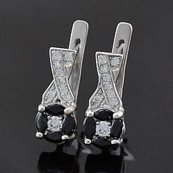 Серебряные серьги Артемида размер 16х7 мм вставка черные фианиты вес 3.23 г
