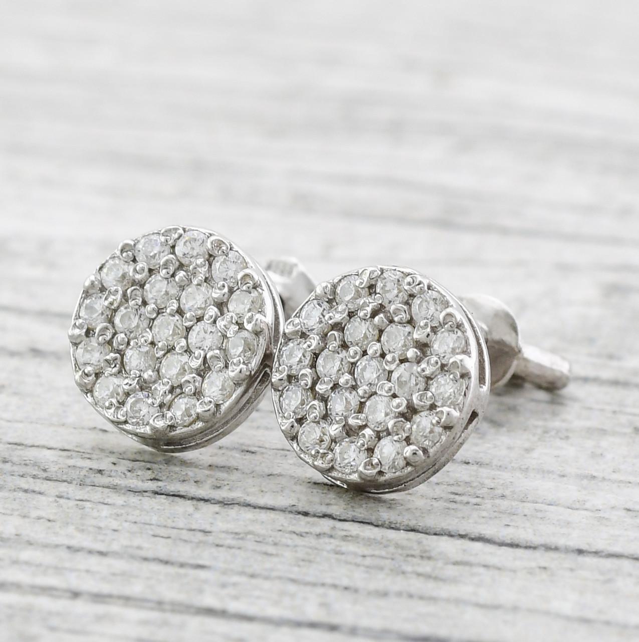 Серебряные серьги Россыпь бриллиантов размер 9х9 мм вставка белые фианиты вес 2.2 г