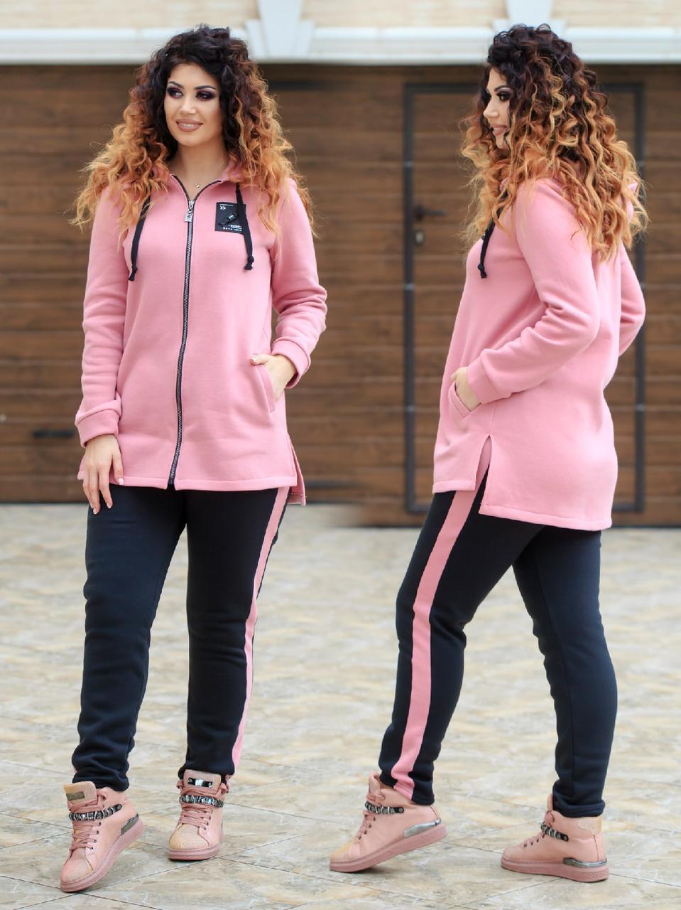 Жіночий зимовий теплий спортивний костюм: довга кофта з капюшоном та штани, батал великі розміри