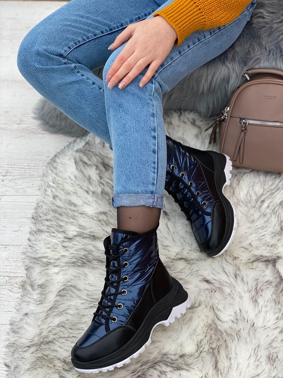 Ботинки женские зимние 8 пар в ящике синего цвета 36-41