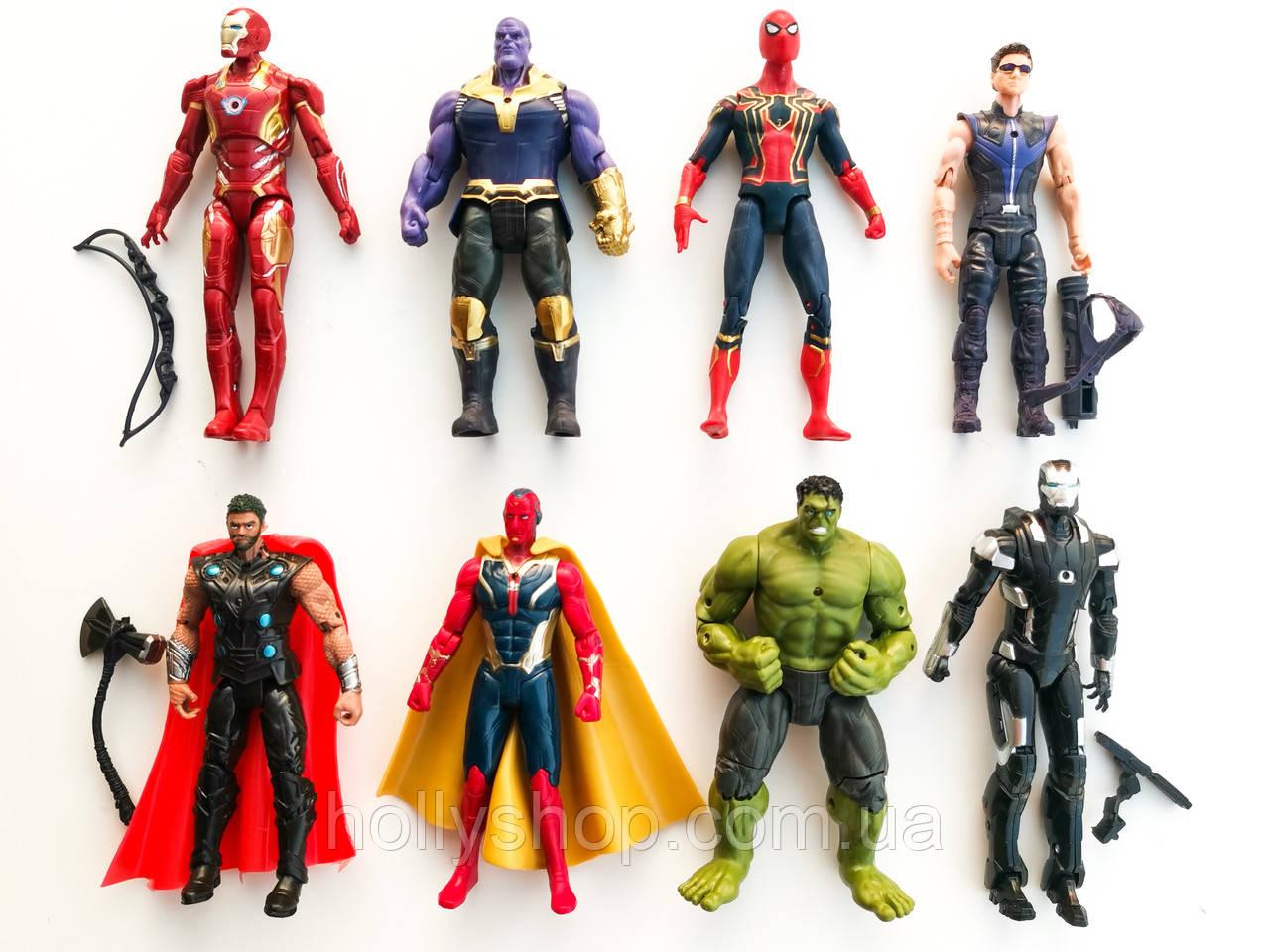 """Игровые Фигурки мстители """"Avengers"""", набор из 8 главных героев - 17см, свет, подвижные."""