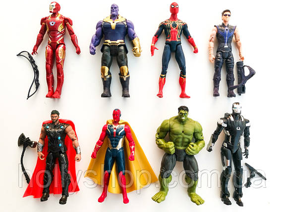 """Игровые Фигурки мстители """"Avengers"""", набор из 8 главных героев - 17см, свет, подвижные., фото 2"""