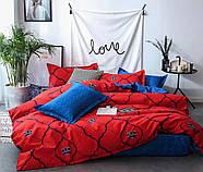 """Двоспальний комплект (Ранфорс)   Постільна білизна від виробника """"Королева Ночі""""   Корона на червоному і синьому, фото 2"""
