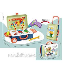 Болтовая мозаика конструктор 207 элементов, мозаика на шурупах в чемодане, шуруповерт, отвертка 678-120A