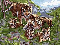 Картина по Номерам Семья Тигров, фото 1