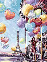 Картина по Номерам Девушка с Воздушными Шарами, фото 1
