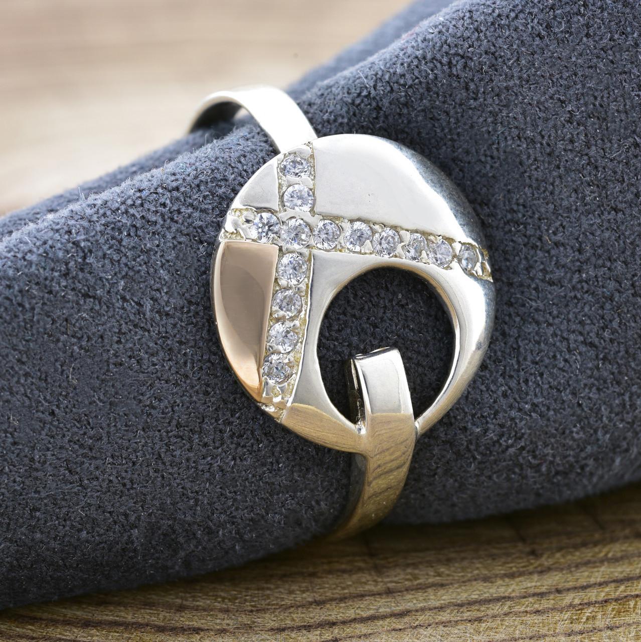 Серебряное кольцо Рассвет, вставка белые фианиты, вес 2.4 г, размер 22