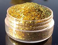 Глиттер золотой (1/128), 1 кг. Глиттер для маникюра, тату, боди-арта, декора, ногтей, губ, глаз., фото 1