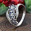 Серебряное кольцо Цветочный букет вставка синие фианиты вес 2.35 г размер 19.5, фото 2