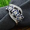 Серебряное кольцо Цветочный букет вставка синие фианиты вес 2.35 г размер 19.5, фото 4