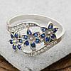 Серебряное кольцо Цветочный букет вставка синие фианиты вес 2.35 г размер 19.5, фото 5