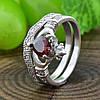 Серебряное кольцо двойное Сердце на ладонях вставка красные фианиты вес 4.65 г размер 17, фото 4