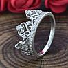 Серебряное кольцо Корона вставка белые фианиты вес 2.6 г размер 16, фото 4