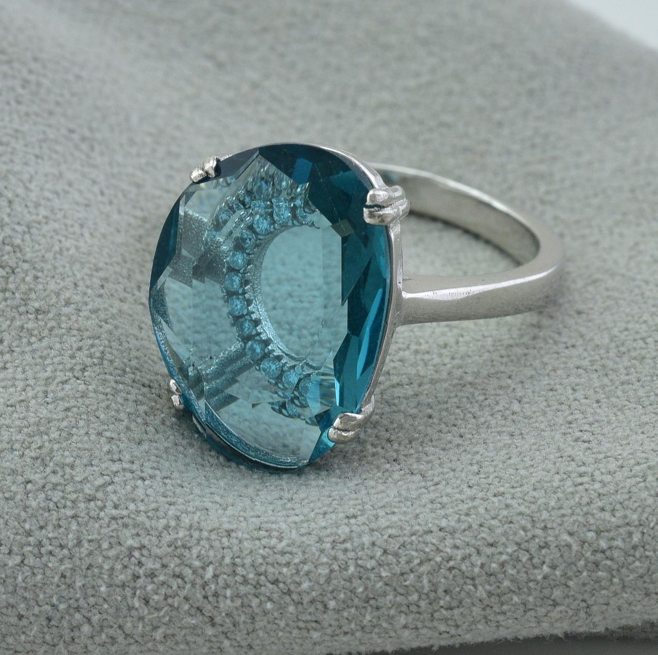 Серебряное кольцо размер 16.5 вставка лазурные фианиты вес 4 г