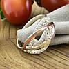 Серебряное кольцо с золотом Ольвия вставка белые фианиты вес 3.15 г размер 21.5, фото 3