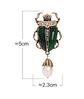 Брошь брошка значок металлический зеленый жук скарабей с жемчужиной, фото 2