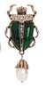 Брошь брошка значок металлический зеленый жук скарабей с жемчужиной, фото 4